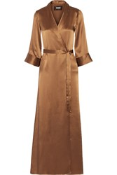 Reformation Silk Wrap Maxi Dress Bronze