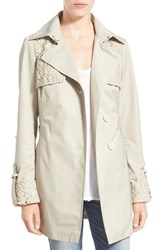 Women's Sam Edelman Lace Trim Trench Coat Pelican