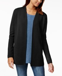 Charter Club Petite Open Front Cardigan Created For Macy's Deep Black