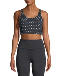 Kate Spade Polka Dot Scallop Sports Bra Black White