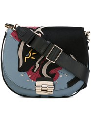 Furla Badger Panel Saddle Bag Black