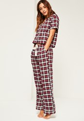 Missguided Red Checked Cropped Pyjama Set