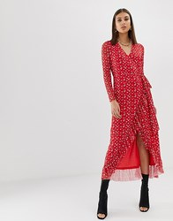 Na Kd Flower Print Frill Wrap Dress In Red