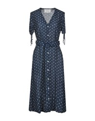 Leon And Harper Knee Length Dresses Dark Blue