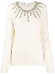 Giambattista Valli Crystal Embellished Knit Sweater Neutrals