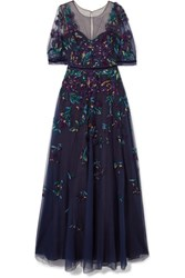 Marchesa Notte Bead Embellished Embroidered Tulle Gown Navy