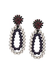 Marni Beased Strass Clip On Earrings Grey