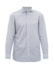 Finamore 1925 Geata Striped Cotton Blend Shirt White Multi