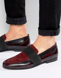 Asos Loafers In Red Suede Burgundy