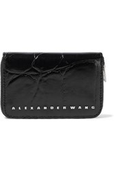 Alexander Wang Woman Glossed Croc Effect Leather Wallet Black