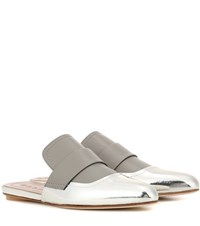 Marni Exclusive To Mytheresa.Com Leather Slip On Sandals Silver