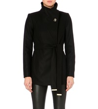 Ted Baker Short Wool And Cashmere Blend Wrap Coat Black