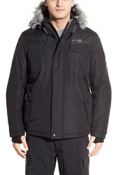 Men's Point Zero Hooded Jacket With Faux Fur Trim Black