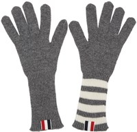 Thom Browne Grey Rib Cashmere Four Bar Gloves