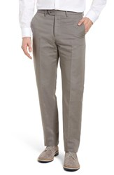 Monte Rosso Flat Front Solid Cotton And Linen Trousers Grey