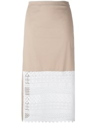 N 21 No21 Lace Panel Skirt Nude Neutrals