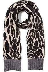 Just Cavalli Jacquard Knit Wool Blend Scarf Black