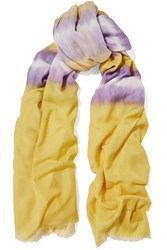 M Missoni Frayed Modal And Cotton Blend Scarf Yellow
