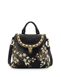 Mary Frances Muse Embroidered Leather Shoulder Bag Black Tan