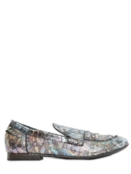 Strategia 10Mm Python Printed Leather Loafers Silver Multi