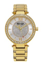Soandco Women's Madison Crystal Accented Bracelet Watch Metallic