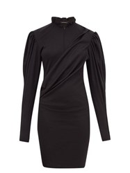 Isabel Marant Divya Puff Sleeve Ruched Wool Jersey Dress Black