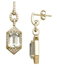 Lord And Taylor 14K Yellow Gold Green Amethyst Diamond Earrings