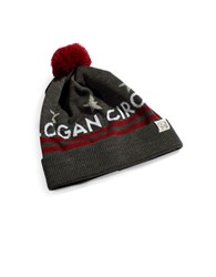 Tuck Shop Co. Logan Circle Striped Pompom Beanie Charcoal
