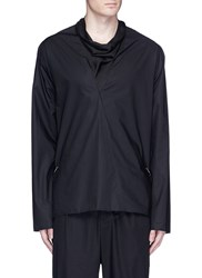 Damir Doma 'Torn' Satin Cowl Neck Poplin Top Black