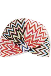 Missoni Metallic Crochet Knit Turban Red