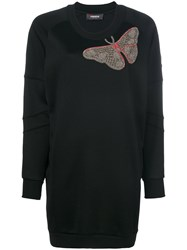 Jo No Fui Butterfly Embroidered Knitted Dress Cotton Polyamide Polyester Glass M Black