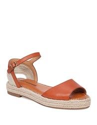 Lucky Brand Lk Flairr Leather Espadrille Wedge Sandals Brown