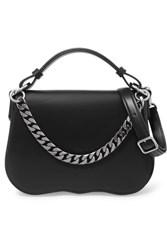 Calvin Klein 205W39nyc Chain Trimmed Leather Shoulder Bag Black
