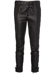 Saint Laurent Mid Rise Slim Fit Cropped Leather Trousers Calf Leather Black