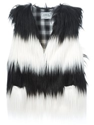 Forte Couture Striped Faux Fur Vest Black