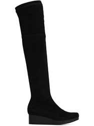 Robert Clergerie Thigh High Wedge Boots Black