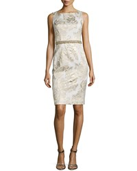 Rickie Freeman For Teri Jon Sleeveless Jacquard Beaded Waist Cocktail Dress White