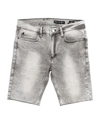 Religion Denim Shorts With Acid Wash Grey