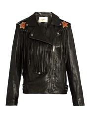 Valentino Wonderland Hand Painted Fringed Leather Jacket Black Multi