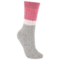 John Lewis Wool And Silk Blend Ribbed Colour Block Ankle Socks Marl Grey Candy Pink