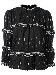 Etoile Isabel Marant Contrast Stitch Tiered Top Black