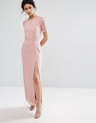 Elise Ryan Maxi Dress With Lace Sleeve And Back Mauve Pink