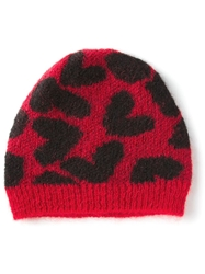 Saint Laurent Heart Print Hat Red
