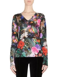 Mary Katrantzou Whist Floral Print Wool V Neck Sweater Rose Garden