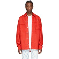Off White Red Denim Arrows Over Shirt