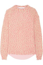 Julien David Bobble Knit And Cotton Oxford Sweater Pink