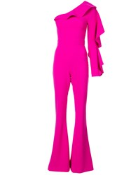 Christian Siriano One Shoulder Tailored Jumpsuit Pink And Purple