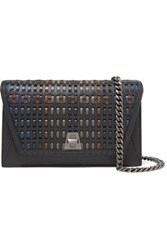 Akris Anouk City Woven Textured Leather Shoulder Bag Black