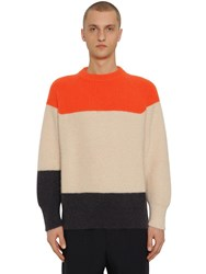 Jil Sander Striped Mohair And Wool Knit Sweater Multicolor