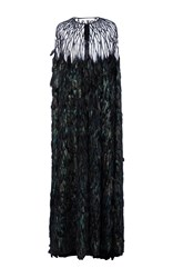 Naeem Khan Feather And Sequin Embroidered Cape Green